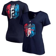 Wholesale Cheap Cleveland Indians #12 Francisco Lindor Majestic Women's 2019 Spring Training Name & Number V-Neck T-Shirt Navy