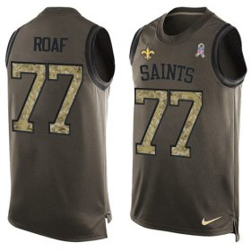 Wholesale Cheap Nike Saints #77 Willie Roaf Green Men\'s Stitched NFL Limited Salute To Service Tank Top Jersey