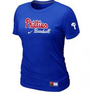 Wholesale Cheap Women's Philadelphia Phillies Nike Short Sleeve Practice MLB T-Shirt Blue