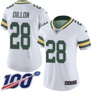 Wholesale Cheap Nike Packers #28 AJ Dillon White Women's Stitched NFL 100th Season Vapor Untouchable Limited Jersey