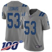 Wholesale Cheap Nike Colts #53 Darius Leonard Gray Men's Stitched NFL Limited Inverted Legend 100th Season Jersey