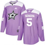 Cheap Adidas Stars #5 Andrej Sekera Purple Authentic Fights Cancer Youth Stitched NHL Jersey