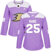 Wholesale Cheap Adidas Ducks #25 Ondrej Kase Purple Authentic Fights Cancer Women's Stitched NHL Jersey