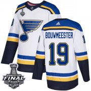 Wholesale Cheap Adidas Blues #19 Jay Bouwmeester White Road Authentic 2019 Stanley Cup Final Stitched NHL Jersey