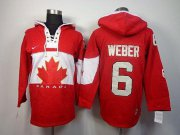 Wholesale Cheap Olympic CA. #6 Shea Weber Red Sawyer Hooded Sweatshirt Stitched NHL Jersey