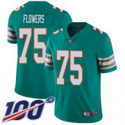 Wholesale Cheap Nike Dolphins #75 Ereck Flowers Aqua Green Alternate Youth Stitched NFL 100th Season Vapor Untouchable Limited Jersey