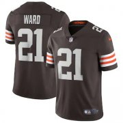 Wholesale Cheap Cleveland Browns #21 Denzel Ward Men's Nike Brown 2020 Vapor Limited Jersey