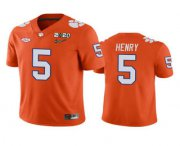 Wholesale Cheap Men's Clemson Tigers #5 K.J. Henry Orange 2020 National Championship Game Jersey
