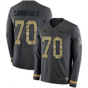 Wholesale Cheap Nike Titans #70 Ty Sambrailo Anthracite Salute to Service Youth Stitched NFL Limited Therma Long Sleeve Jersey