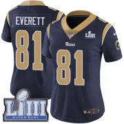 Wholesale Cheap Nike Rams #81 Gerald Everett Navy Blue Team Color Super Bowl LIII Bound Women's Stitched NFL Vapor Untouchable Limited Jersey