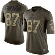 Wholesale Cheap Nike Patriots #87 Rob Gronkowski Green Youth Stitched NFL Limited 2015 Salute to Service Jersey