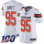 Wholesale Cheap Nike Browns #95 Myles Garrett White Women's Stitched NFL 100th Season Vapor Limited Jersey