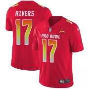 Wholesale Cheap Nike Chargers #17 Philip Rivers Red Men's Stitched NFL Limited AFC 2018 Pro Bowl Jersey