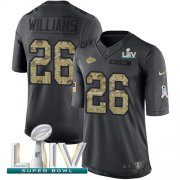 Wholesale Cheap Nike Chiefs #26 Damien Williams Black Super Bowl LIV 2020 Men's Stitched NFL Limited 2016 Salute to Service Jersey