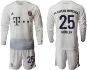 Wholesale Cheap Bayern Munchen #25 Muller Away Long Sleeves Soccer Club Jersey