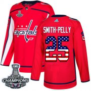 Wholesale Cheap Adidas Capitals #25 Devante Smith-Pelly Red Home Authentic USA Flag Stanley Cup Final Champions Stitched NHL Jersey