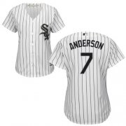 Wholesale Cheap White Sox #7 Tim Anderson White(Black Strip) Home Women's Stitched MLB Jersey