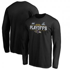 Wholesale Cheap Baltimore Ravens 2019 NFL Playoffs Bound Chip Shot Long Sleeve T-Shirt Black