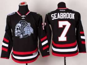 Wholesale Cheap Blackhawks #7 Brent Seabrook Black(White Skull) 2014 Stadium Series Stitched Youth NHL Jersey