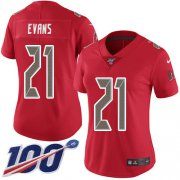 Wholesale Cheap Nike Buccaneers #21 Justin Evans Red Women's Stitched NFL Limited Rush 100th Season Jersey