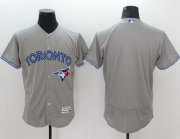 Wholesale Blue Jays Blank Grey Flexbase Authentic Collection Stitched Baseball Jersey