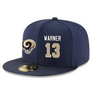 Wholesale Cheap Los Angeles Rams #13 Kurt Warner Snapback Cap NFL Player Navy Blue with Gold Number Stitched Hat