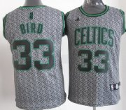 Wholesale Cheap Boston Celtics #33 Larry Bird Gray Static Fashion Jersey