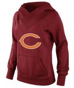 Wholesale Cheap Women's Chicago Bears Logo Pullover Hoodie Red
