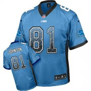 Wholesale Cheap Nike Lions #81 Calvin Johnson Light Blue Team Color Youth Stitched NFL Elite Drift Fashion Jersey