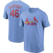 Wholesale Cheap St. Louis Cardinals #46 Paul Goldschmidt Nike Name & Number T-Shirt Light Blue
