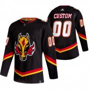 Wholesale Cheap Calgary Flames Custom Black Men's Adidas 2020-21 Reverse Retro Alternate NHL Jersey