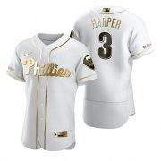 Wholesale Cheap Philadelphia Phillies #3 Bryce Harper White Nike Men's Authentic Golden Edition MLB Jersey
