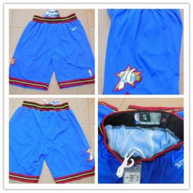 Wholesale Cheap Men\'s Philadelphia 76ers Blue Soul Swingman Throwback Short