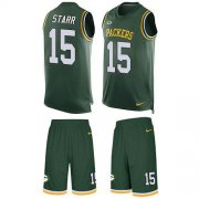 Wholesale Cheap Nike Packers #15 Bart Starr Green Team Color Men's Stitched NFL Limited Tank Top Suit Jersey