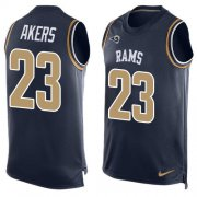 Wholesale Cheap Nike Rams #23 Cam Akers Navy Blue Team Color Men's Stitched NFL Limited Tank Top Jersey