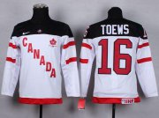 Wholesale Cheap Team Canada #16 Jonathan Toews White 100th Anniversary Stitched Youth NHL Jersey