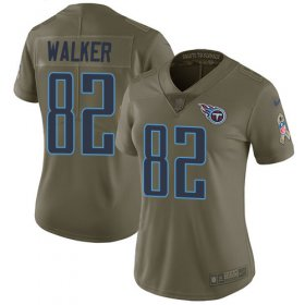 Wholesale Cheap Nike Titans #82 Delanie Walker Olive Women\'s Stitched NFL Limited 2017 Salute to Service Jersey