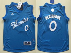 Cheap Youth Oklahoma City Thunder #0 Russell Westbrook adidas Blue 2016 Christmas Day Stitched NBA Swingman Jersey