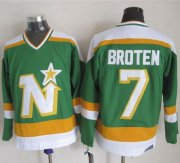 Wholesale Cheap Stars #7 Neal Broten Stitched Green CCM Throwback NHL Jersey
