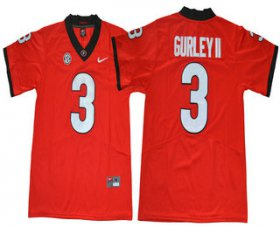 Wholesale Cheap Men\'s Georgia Bulldogs #3 Todd Gurley II Red Limited 2017 College Football Stitched Nike NCAA Jersey