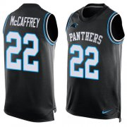 Wholesale Cheap Nike Panthers #22 Christian McCaffrey Black Team Color Men's Stitched NFL Limited Tank Top Jersey