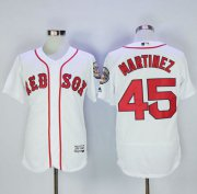 Wholesale Cheap Red Sox #45 Pedro Martinez White Flexbase Authentic Collection Stitched MLB Jersey