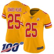 Wholesale Cheap Nike Chiefs #25 Clyde Edwards-Helaire Gold Women's Stitched NFL Limited Inverted Legend 100th Season Jersey
