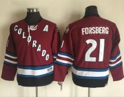 Wholesale Avalanche #21 Peter Forsberg Red CCM Throwback Stitched Youth NHL Jersey