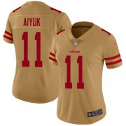 Wholesale Cheap Nike 49ers #11 Brandon Aiyuk Gold Women's Stitched NFL Limited Inverted Legend Jersey