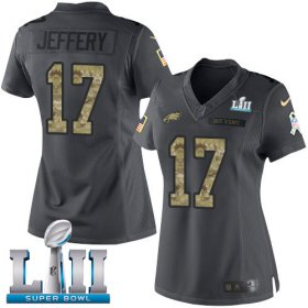 Wholesale Cheap Nike Eagles #17 Alshon Jeffery Black Super Bowl LII Women\'s Stitched NFL Limited 2016 Salute to Service Jersey