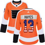 Wholesale Cheap Adidas Flyers #13 Kevin Hayes Orange Home Authentic USA Flag Women's Stitched NHL Jersey