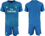 Wholesale Cheap Real Madrid Blank Blue Goalkeeper Soccer Club Jersey
