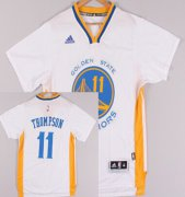 Wholesale Cheap Golden State Warriors #11 Klay Thompson Revolution 30 Swingman 2014 New White Short-Sleeved Jersey