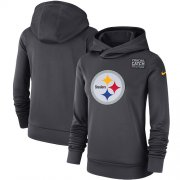 Wholesale Cheap NFL Women's Pittsburgh Steelers Nike Anthracite Crucial Catch Performance Pullover Hoodie